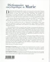 Dictionnaire encyclopédique de Marie - 4ème de couverture - Format classique