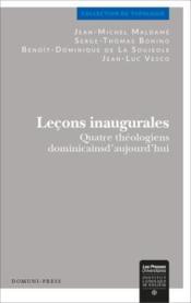 Leçons inaugurales ; quatre théologiens dominicains aujourd'hui - Couverture - Format classique