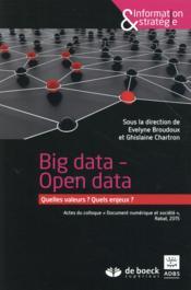 Big data ; open data - Couverture - Format classique