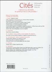 Revue Cites T.64 ; Politiques Du Capital - 4ème de couverture - Format classique