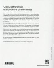 Calcul Differentiel Et Equations Differentielles Licence De Mathematiques - 4ème de couverture - Format classique