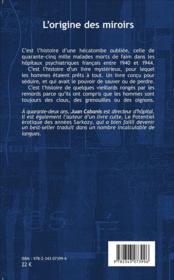 L'origine des miroirs roman - 4ème de couverture - Format classique