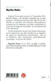 Petite vie de Marthe Robin - 4ème de couverture - Format classique