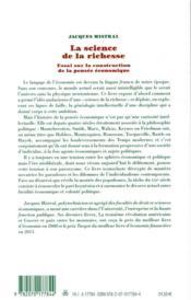 La science de la richesse ; essai sur la construction de la pensée économique - 4ème de couverture - Format classique