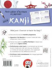 Petit cahier d'écriture en japonais : spécial kanji - 4ème de couverture - Format classique