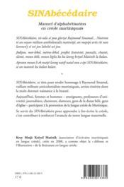Sinabécédaire ; manuel d'alphabétisation en créole martiniquais - 4ème de couverture - Format classique
