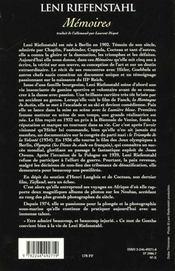 Memoires - 4ème de couverture - Format classique