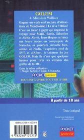 Golem - tome 4 monsieur william - 4ème de couverture - Format classique
