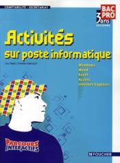 Activites Sur Poste Informatique - Couverture - Format classique
