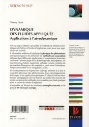 Dynamique des fluides appliquee - applications a l'aerodynamique - 4ème de couverture - Format classique