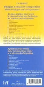 Dialogues Medicaux Et Correspondance - 4ème de couverture - Format classique