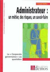 Administrateur : un métier, des risques, un savoir-faire - Intérieur - Format classique