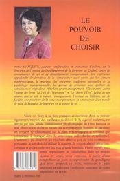Le Pouvoir De Choisir - 4ème de couverture - Format classique