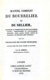 Du bourrelier et du sellier - Intérieur - Format classique