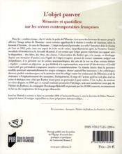 L'objet pauvre ; mémoire et quotidien sur les scènes contemporaines françaises - 4ème de couverture - Format classique