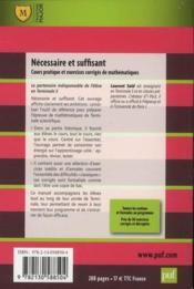 Nécessaire et suffisant ; cours et exercices appliqués de mathématiques (2e édition) - Couverture - Format classique