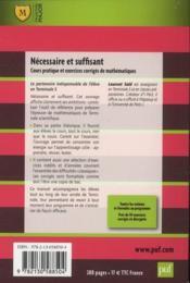 Nécessaire et suffisant ; cours et exercices appliqués de mathématiques (2e édition) - 4ème de couverture - Format classique