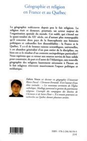 Géographie et religion en France et au Québec - 4ème de couverture - Format classique