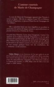 L'amour courtois de Marie de Champagne - 4ème de couverture - Format classique