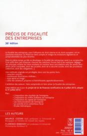 Précis de fiscalité des entreprises (36e édition) - 4ème de couverture - Format classique