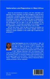 Nationalism and reparation in West Africa - 4ème de couverture - Format classique