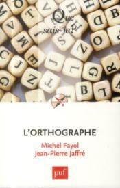 L'orthographe - Couverture - Format classique