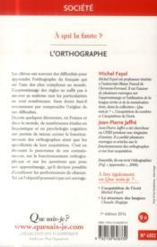 L'orthographe - 4ème de couverture - Format classique