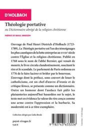 Theologie portative n 851 - 4ème de couverture - Format classique