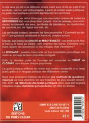 Servitudes, mitoyenneté, bornage, clôture (11e édition) - 4ème de couverture - Format classique