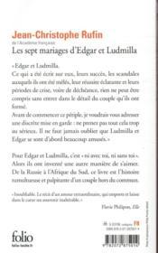 Les sept mariages d'Edgar et Ludmilla - 4ème de couverture - Format classique