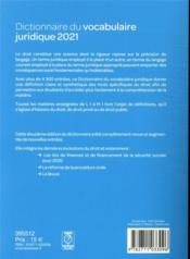 Dictionnaire du vocabulaire juridique (édition 2021) - 4ème de couverture - Format classique