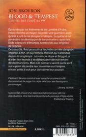 L'empire des tempêtes T.3 ; blood and tempest - 4ème de couverture - Format classique