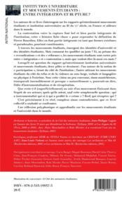 Institution universitaire et mouvements étudiants : entre intégration et rupture ? - 4ème de couverture - Format classique