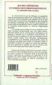 Jeunes Chomeurs Et Formation Professionnelle ; La Rationalite Mise En Echec - 4ème de couverture - Format classique