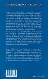 Le Francais Par La Chanson - 4ème de couverture - Format classique
