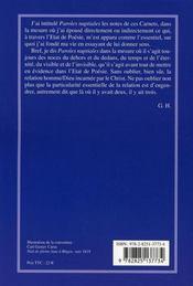 Paroles nuptiales ; carnets 2005 - 4ème de couverture - Format classique