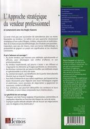 L'approche stratègique du vendeur professionnel - 4ème de couverture - Format classique