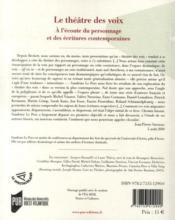 Le théâtre des voix ; à lécoute du personnage et des écritures contemporaines - 4ème de couverture - Format classique