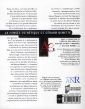 La pensée esthétique de Gérard Genette - 4ème de couverture - Format classique