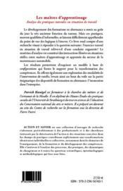 Les maîtres d'apprentissage ; analyse des pratiques tutorales en situation de travail - 4ème de couverture - Format classique