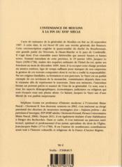 Intendance de moulins a la fin du xvii s - 4ème de couverture - Format classique