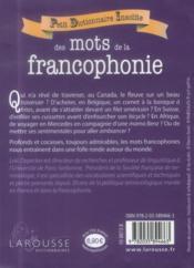Petit dictionnaire insolite des mots de la francophonie - 4ème de couverture - Format classique