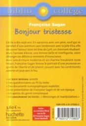 Bonjour tristesse ; Françoise Sagan - 4ème de couverture - Format classique