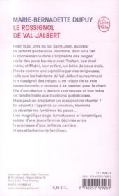 L'orpheline des neiges T.2 ; le rossignol de Val-Jalbert - 4ème de couverture - Format classique