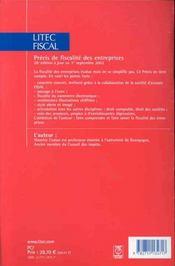 Precis de fiscalite des entreprises ; 26e edition - 4ème de couverture - Format classique