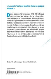 Introduction à la psychanalyse - 4ème de couverture - Format classique