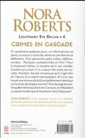 Lieutenant Eve Dallas T.4 ; crimes en cascade - 4ème de couverture - Format classique