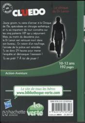 Cluedo T.12 ; la clinique du Dr Lenoir - 4ème de couverture - Format classique