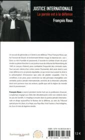 Justice internationale, la parole est à la defense - 4ème de couverture - Format classique