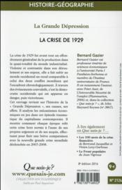 La crise de 1929 (8e édition) - 4ème de couverture - Format classique